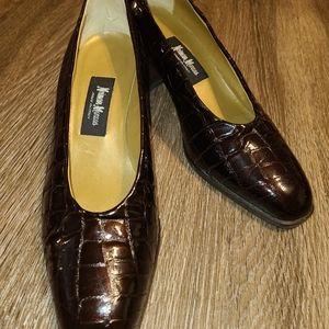 Neiman Marcus Vintage Brown Croc Print Heel